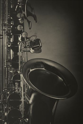 Saxophone on black and white image